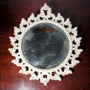 Antique Victorian Ornate Cast Iron Gilt Framed Mirror Painted White