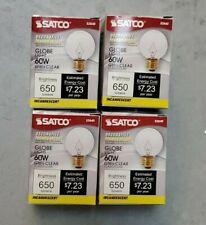 4 PACK Satco S3840 60Watt G16 1/2 Incandescent; Clear; ;640Lumes; 120 Volts