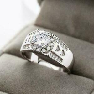 1.55 Ct Moissanite 14K White Gold Over Men's Engagement & Wedding Halo Band Ring