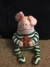 """Gund Olivia the Pig w/ Christmas Pajamas and Holding Gingerbread Plush Doll 13"""""""