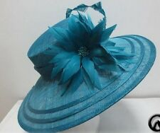 Ladies Teal Hat Wide Brim,Races,Wedding,Equine,Shows,Hat Making