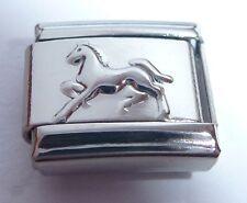 Silver HORSE Italian Charm I Love Riding Rider Pony fits 9mm classic bracelets
