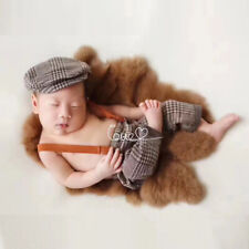 Plaid Bib Short+ Cap 2pcs Set Newborn Baby Photography Props Infant Customes New