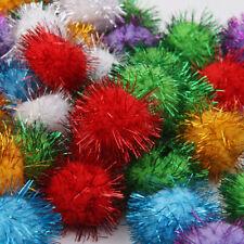 70pcs Assorted Glitter Tinsel Pompom Pom Poms Balls Cats Kittens Toys 3.5cm