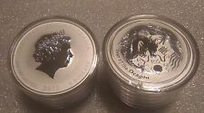 """Australian Lunar II """"Year of the Dragon"""" 2012, ( 5 x 2 Oz )Silver coins (roll)"""