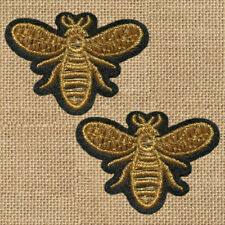 2pc Bee Small Gold Insect Embroidered Patch Cloth Iron On Applique sew #1594