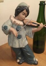 NADAL Fine Porcelain Figurine - Boy Clown Playing Violin Fiddle