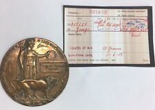 More details for antique ww1 death/memorial plaque private george getley regt no 16995 1/6/1915