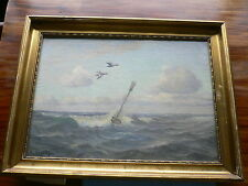 Oil Painting Carl Hoyrup (1893-1961) Seascape with buoy,broomstick and birds.