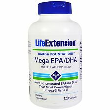 2 PACK $13.74 LIFE EXTENSION Mega EPA/DHA 120 sgels omega 3 fatty acids fish oil