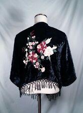 Abercrombie & Fitch Sweater Boho Kimono Fringe Floral Embroidered Velvet One Sz