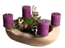 Adventskranz Ø 25 cm Weihnachtsdekoration Holzschale Teakschale Adventsschale
