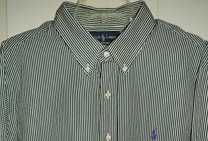 Ralph Lauren Blue White XL Custom Stripe Dress Shirt Purple Pony NWT