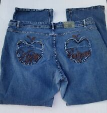 Apple Bottom Plus Size 21/22 Gold Tag Embroidered Denim Bootcut Blue Jeans EUC!