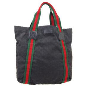 GUCCI GG Sherry Line Hand Tote Bag 189669 543014 Black Canvas Leather AK38386b