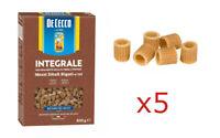 PASTA DE CECCO MEZZI DITALI DI GRANO DURO INTEGRALE FONTE DI FIBRE 5 PEZZI 2,5kg