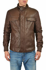Gucci Men's Brown Zip Up Insulated Leather Jacket Size US L IT 52