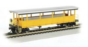 BACHMANN 17448 HO OPEN EXCURSION CAR SILVER/YELLOW UNLETTERED