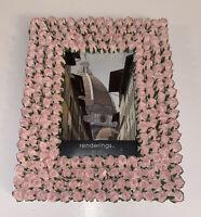 """New Pink FreeStanding  Rectangles Photo Frame 3.5"""" X 5"""" Elegant Flower Design"""