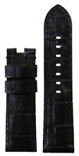 22mm Panatime Black Leather Gator Watch Band MS For Panerai Deploy 22/20 115/80