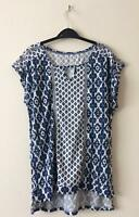 NEW TU UK 8 10 14 BLUE WHITE GEOMETRIC PRINT JERSEY BLOUSE TOP