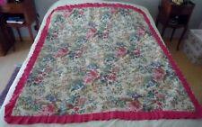 Vintage dessus de lit courtepointe plaid satin broché doublé coton 155x135 cm