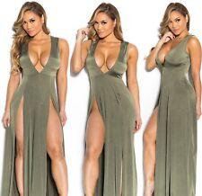 Abito lungo aperto nudo scollo aderente Spacco Cerimonia Maxi Slit Party Dress M