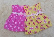 MY FIRST BABY ANNABELL PINK YELLOW DOLL CLOTHES DRESSES DRESS SET