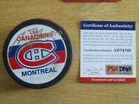 HOFer GUY LAFLEUR #10 signed MONTREAL CANADIENS Puck PSA AE74703