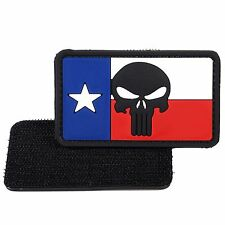 PVC Morale Patch Texas Flag Punisher 3D Badge Hook #27 Paintball Airsoft