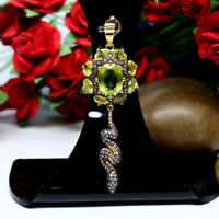 REAL 8 X 10 mm. OVAL GREEN PERIDOT & WHITE CZ PENDANT 925 STERLING SILVER
