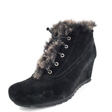 """Earthies """"Beaumont"""" Womens Black Suede Faux Fur Wedge Ankle Booties Size 6.5 M*"""