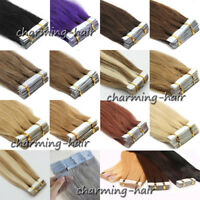 Super Adhesive Tape in 100% Remy Human Hair Extensions Seamless Skin Weft 16/22""