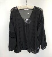New LIVING DOLL 'Midnight' Women Long Sleeve Boho Crochet Top Black Size 10