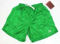 Vtg 90s Umbro Spell Out Silky Nylon Athletic Soccer Shorts Green Mens Small USA