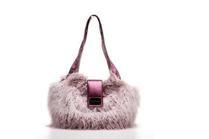NWT Inamorada Handmade Italian Pink Fluffy Fur Bigfoot Small Dog Carrier Bag