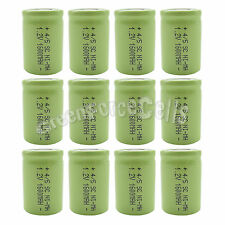 12 x NiMH 4/5 SubC Sub C 1.2V 1600mAh Rechargeable Battery Cell Flat Top Green