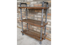 100cm Tall Freestanding Wood & Steel Industrial Style Pipe Shelves (Flat Pack)