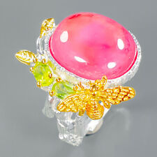 20ct PInky red Natural Ruby 925 Sterling Silver Ring Size 8.5/R94392