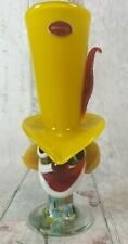 """Vintage Murano Glass Clown Vase Tall Yellow Hat and Red Feather 9.5"""""""