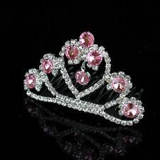 Crown Lovely Princess Pink Crystal Jewerly Girls Hair Tiara Crown Combs Hair