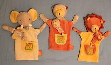 Doudou 3 Marionnettes avec bébés Moulin Roty Les Loustics Lion Singe Éléphant