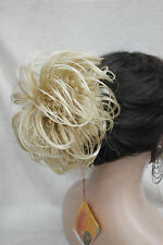 "Blonde mixed Dome Wiglet Drawstring Ponytail 6"" Bun Cover Hair Pieces"