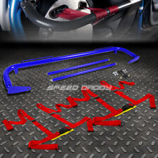 """BLUE 49""""STAINLESS STEEL CHASSIS HARNESS BAR+RED 4-PT STRAP BUCKLE SEAT BELT"""