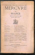 Mercure de France revue n°826 1932, théâtre russe, le Roi s'amuse, économie USA