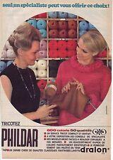 PUBLICITE ADVERTISING 034 1966 PHILDAR laine à tricoter