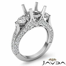 Diamond Engagement Unique Three Stone Ring 18k White Gold Oval Semi Mount 1.3Ct
