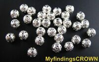 200 pcs silver plated filigree spacer beads 8mm #10288SP