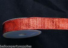 "5 Yards 1""  Red Fabric Xmas / Christmas Ribbon 73064"