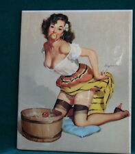 Gil Elvgren Porcelain Painting Plaque Of A Girl W/ Apples KPM STYLE  MAGNIFICENT